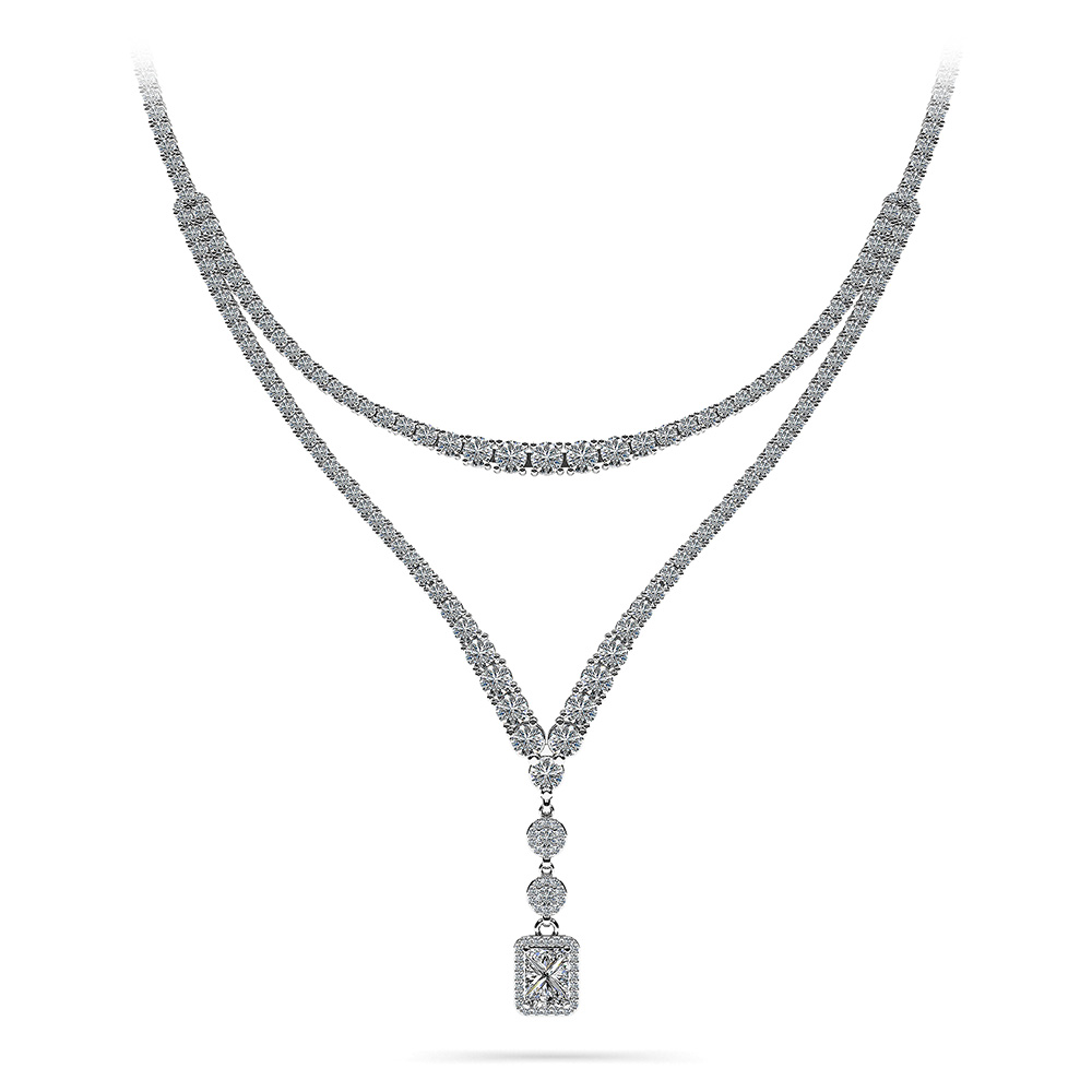 Image of Extravagant Diamond Pendant 2 Row 4 Prong Necklace