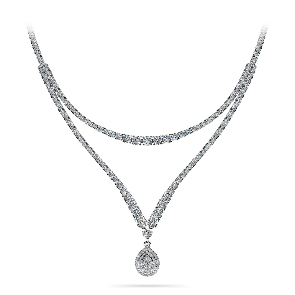 Image of 4 Prong Double Strand V Drop Diamond Necklace