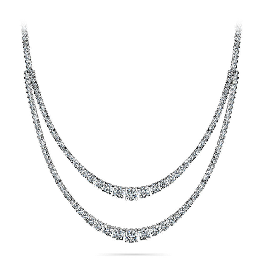 Image of 4 Prong Double Strand Graduated Diamond Necklace