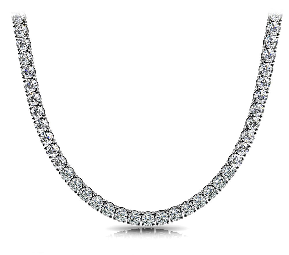 Image of 4 Prong Riviera Diamond Necklace