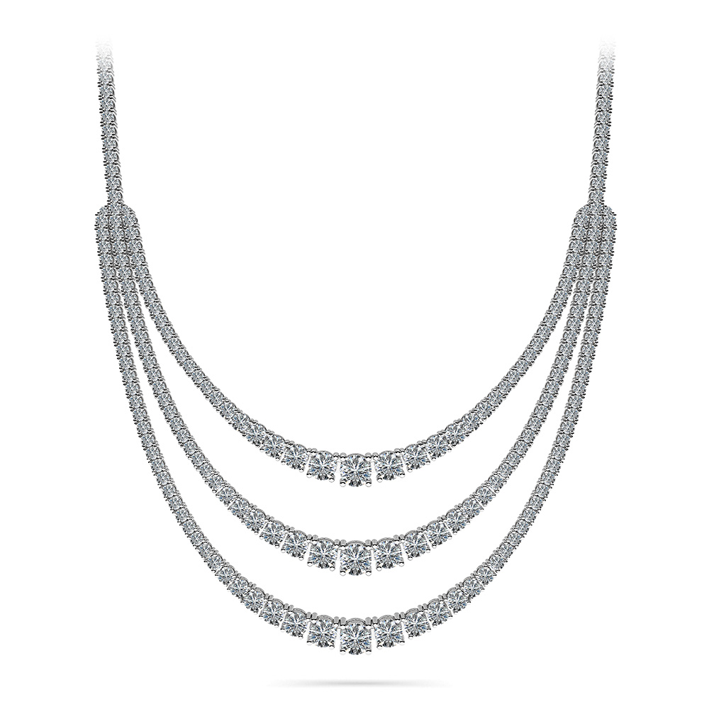 Image of 4 Prong Triple Strand Graduated Diamond Necklace