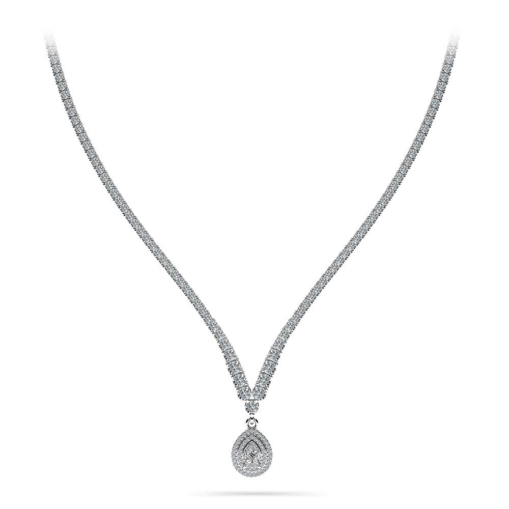 Image of 4 Prong Graduated V Diamond Necklace