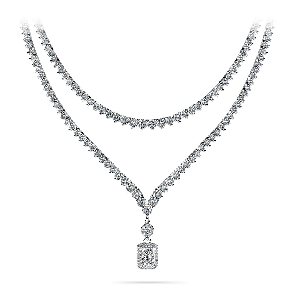 Image of Love Spell Diamond Pendant 2 Row 3 Prong Necklace