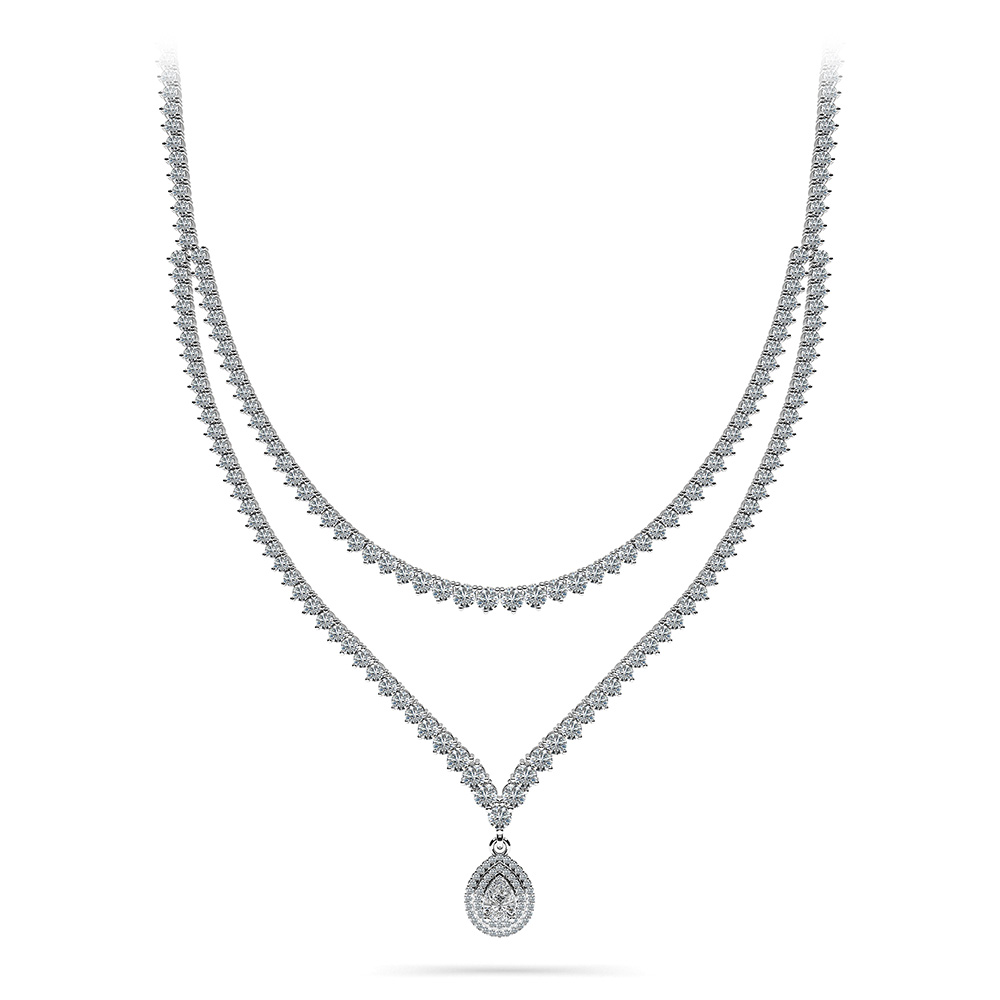 Image of 3 Prong Double Strand V Drop Diamond Necklace