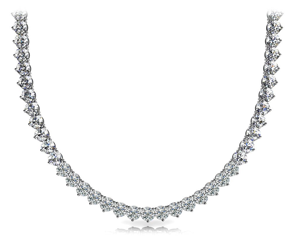 Image of 3 Prong Riviera Diamond Necklace