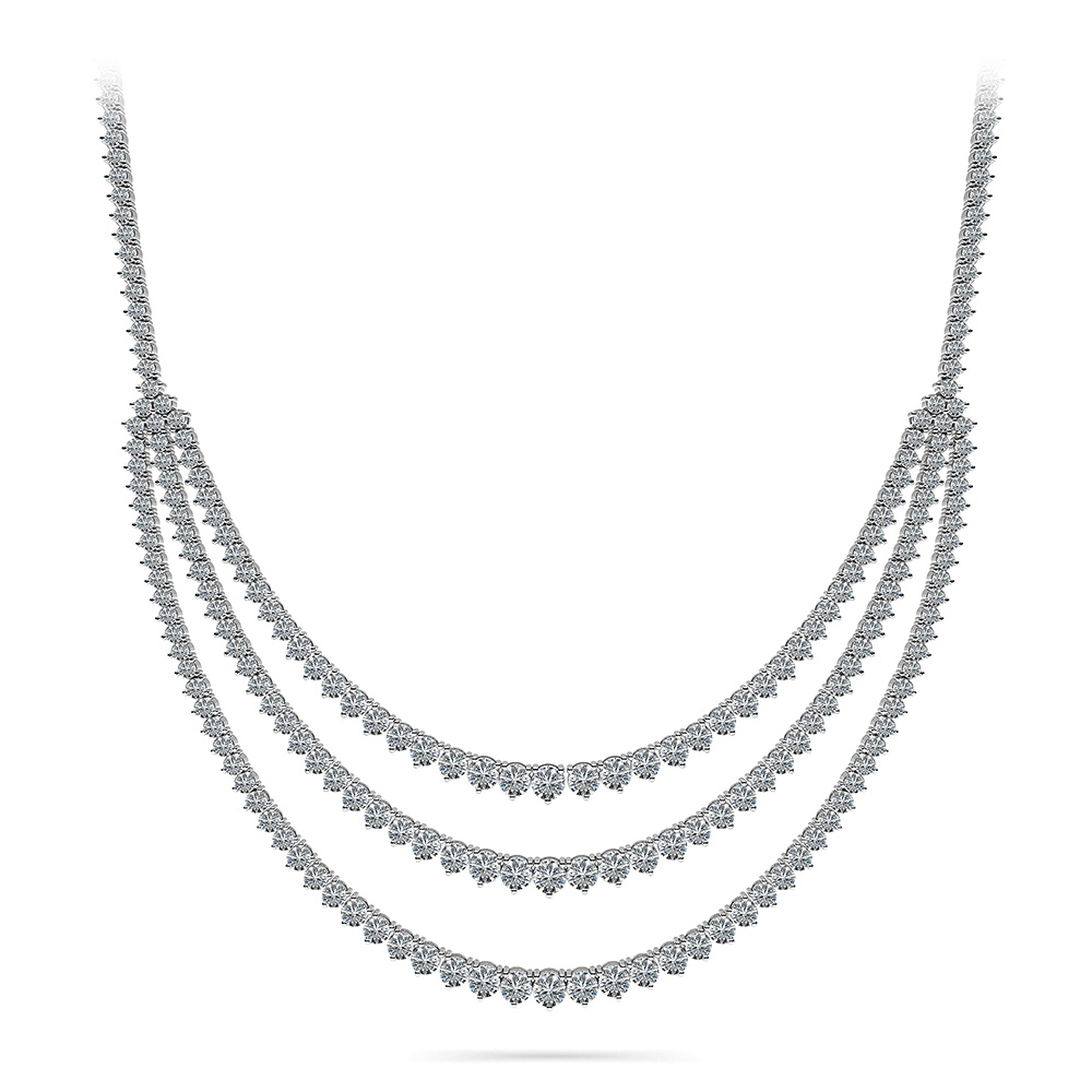 Image of 3 Prong Triple Strand Graduated Diamond Necklace