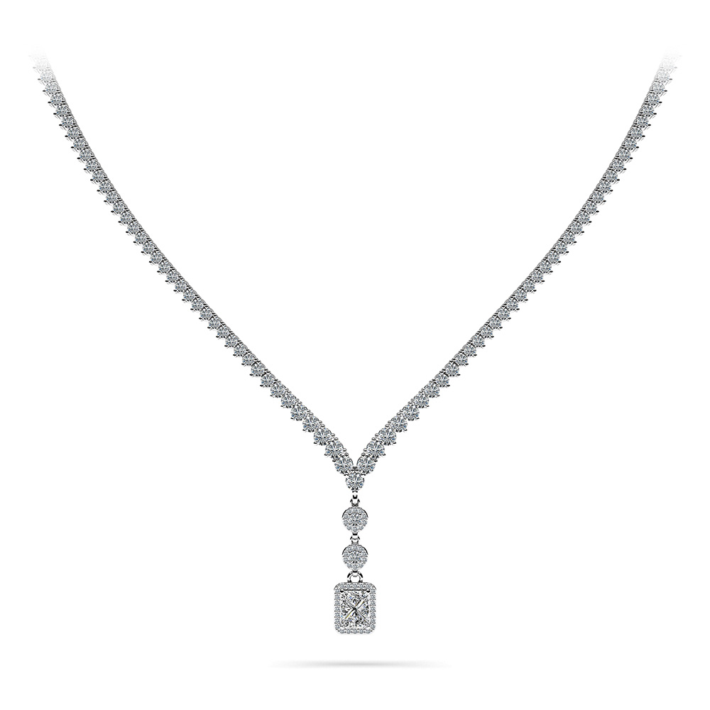 Image of Extravagant Diamond Pendant 3 Prong V Necklace