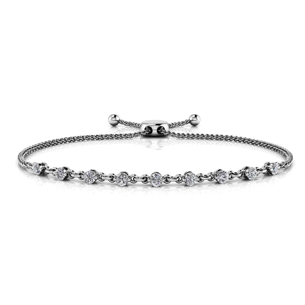 Image of Adjustable Diamond and Chain Link Slider Bracelet