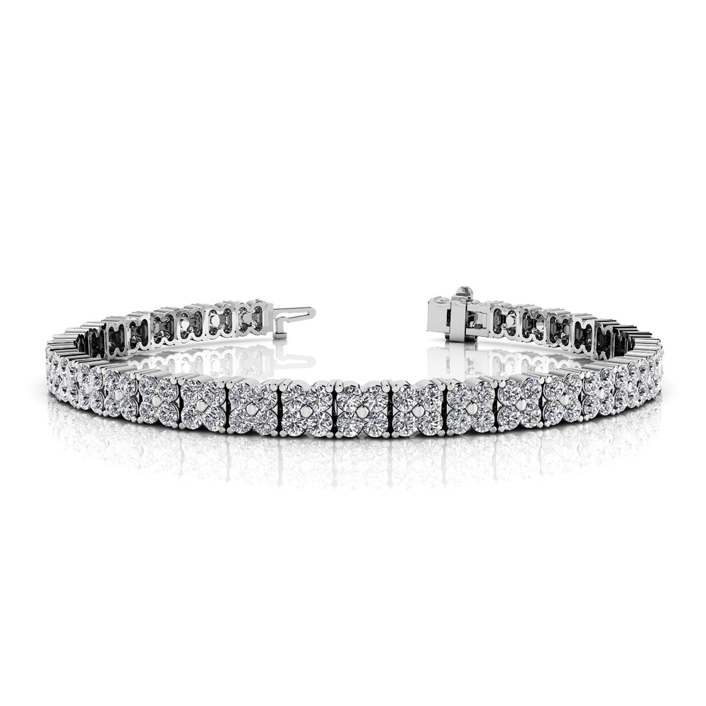 Image of Round Diamond Blossom Tennis Bracelet