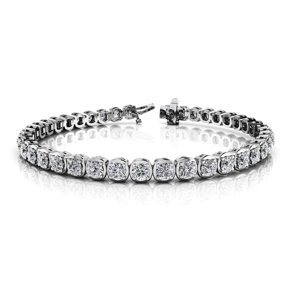 Image of Cushion Inspired Round Diamond Bracelet