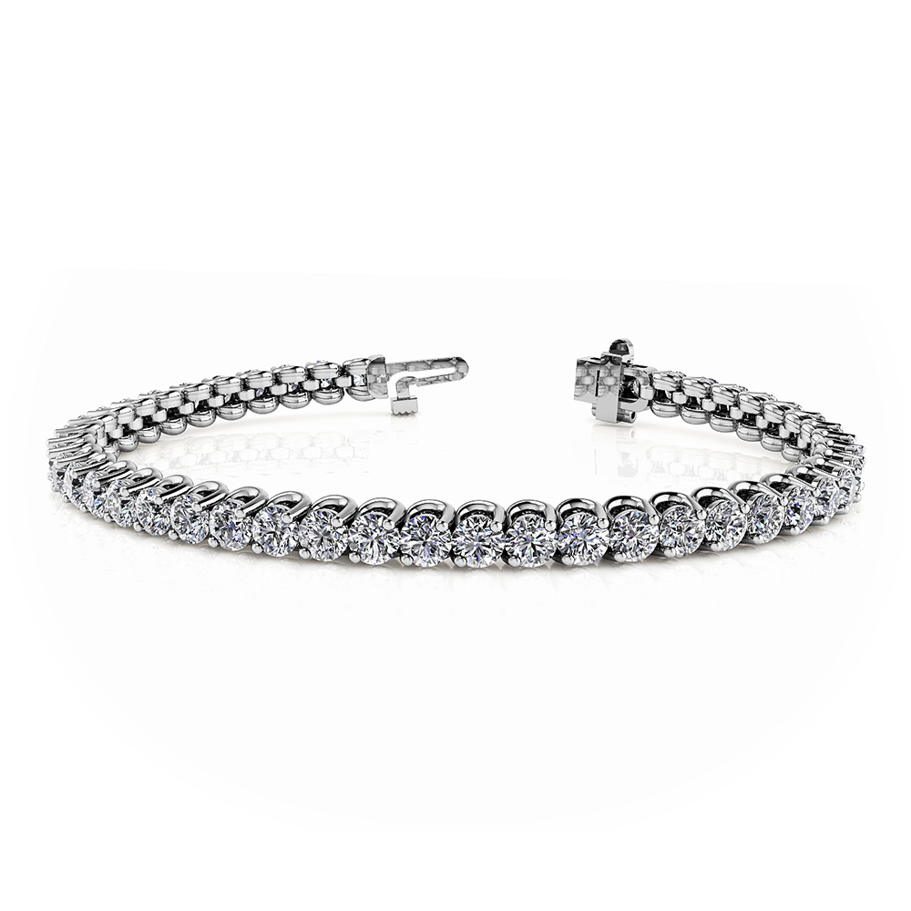 Image of 2 Prong Brilliant Round Diamond Tennis Bracelet