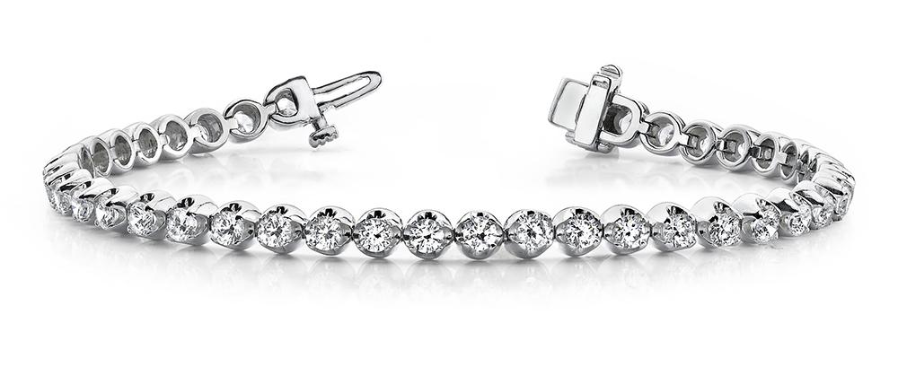 Image of Solid Nugget Diamond Tennis Bracelet