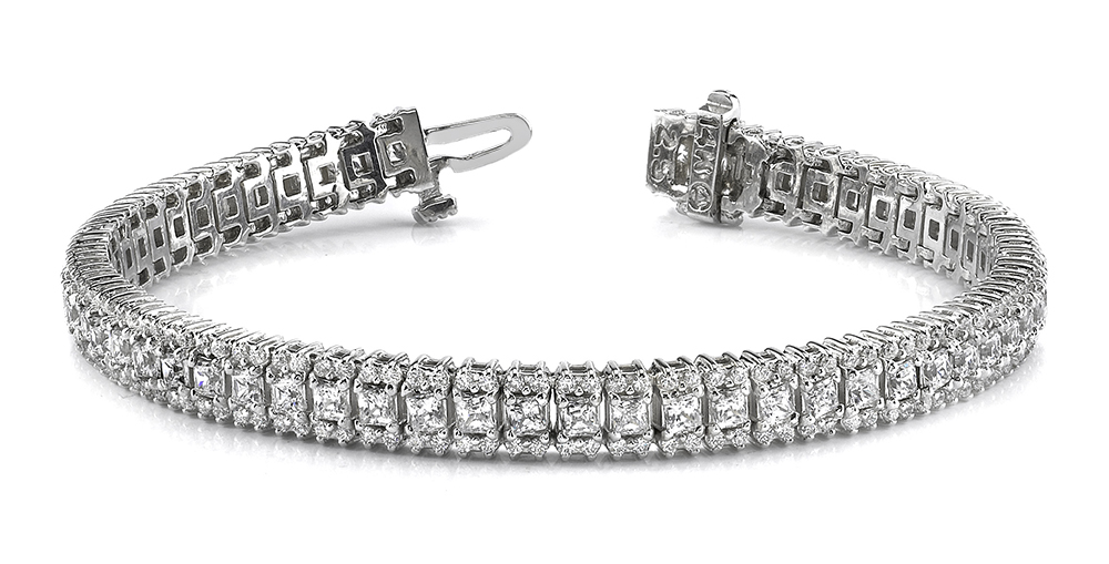 Image of Round and Princess Diamond Bracelet