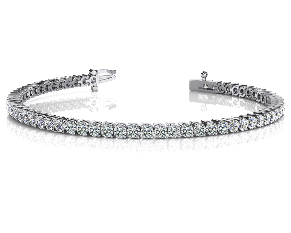 Image of 2 Prong Set Round Diamond Tennis Bracelet