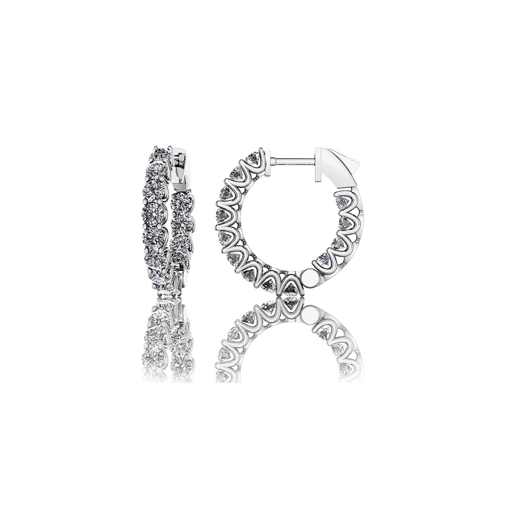 Image of Extra Small Hoop Diamond Huggie Earrings