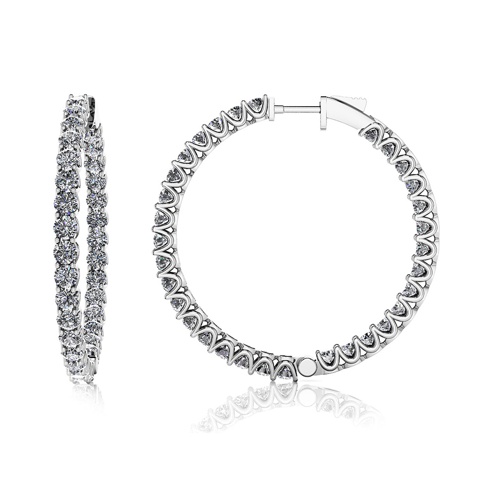 Image of Large Hoop Diamond Earrings
