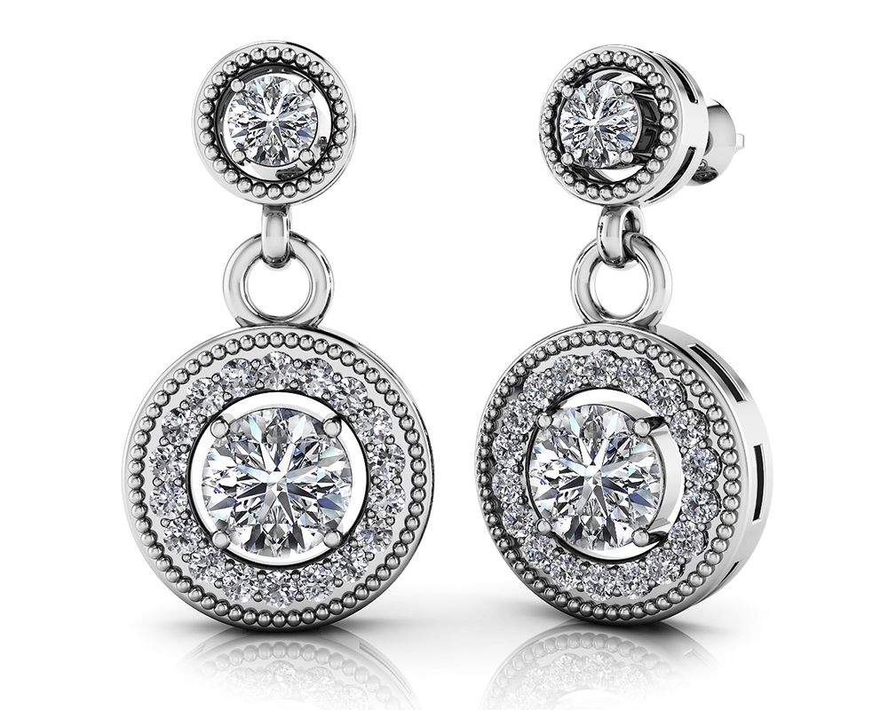 Image of Round Colored Stone Drop Diamond Earrings