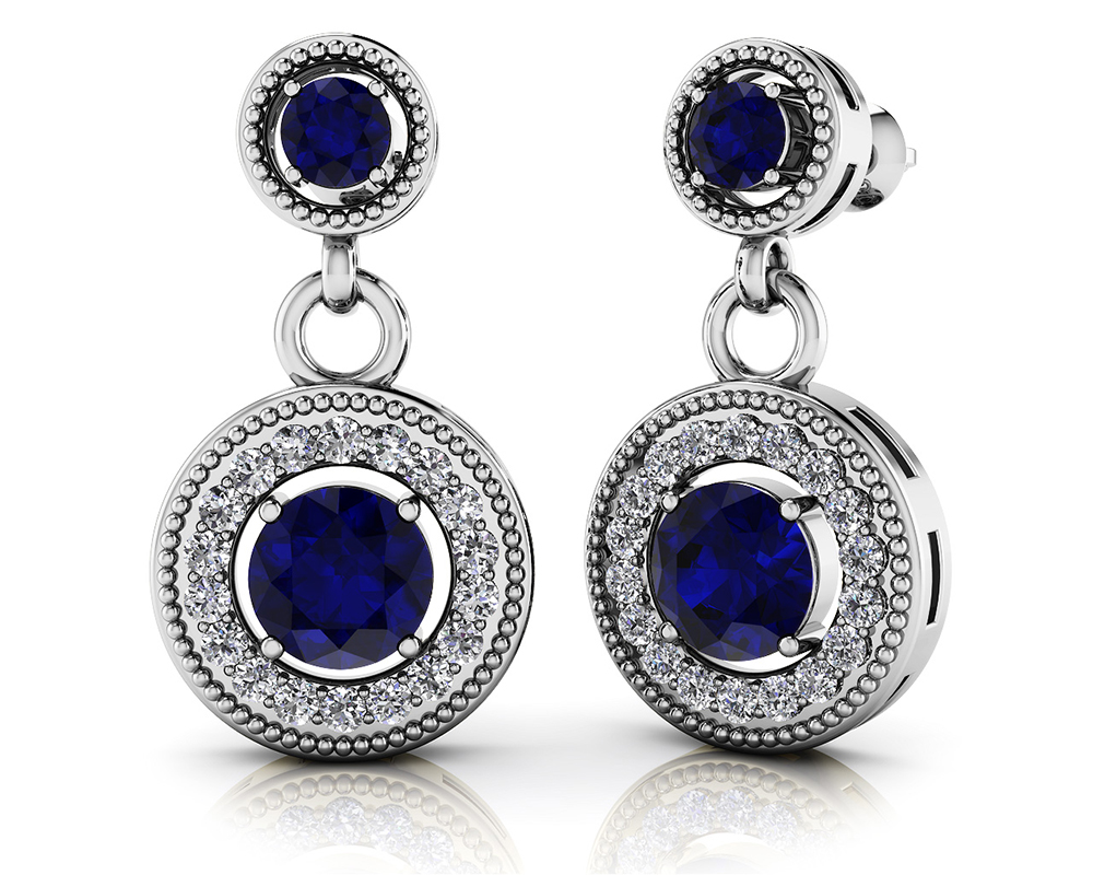 Image of Gemstone and Diamond Round Drop Earrings