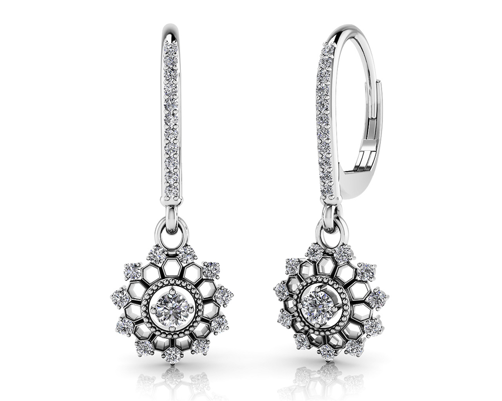 Image of Diamond Starburst Shephard Hook Earrings
