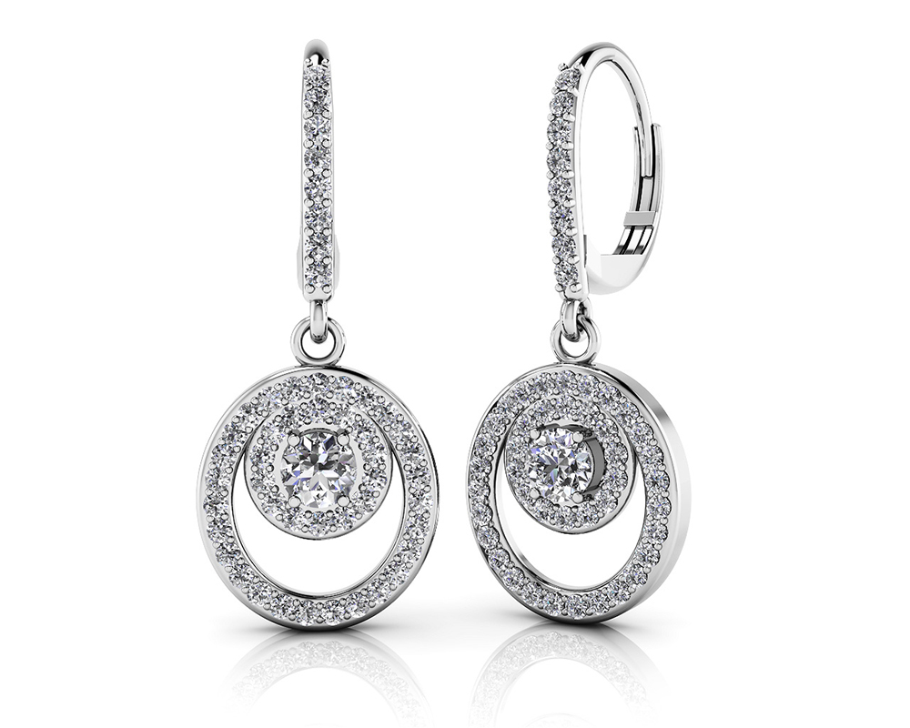 Image of Diamond Circle Pendant Shephard Hook Earrings