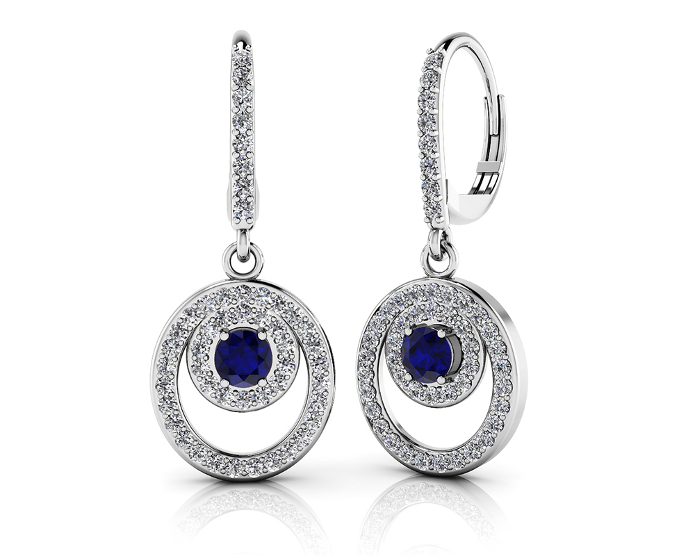 Image of Gemstone and Diamond Shephard Hook Earrings