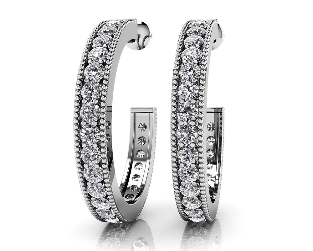 Image of Diamond Lined Round Shaped Hoops