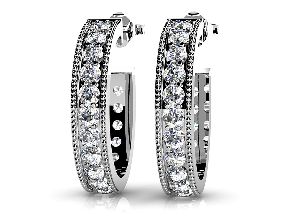 Image of Diamond Lined Oval Shaped Hoops
