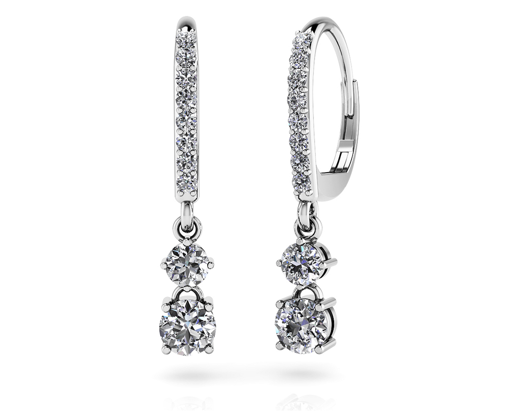 Image of Double Drop Diamond Hoop Earrings