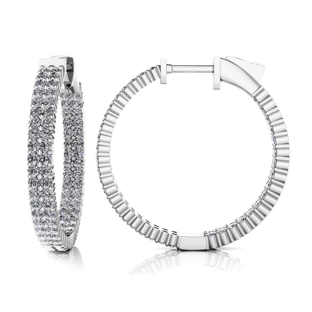 Image of Double Row Inside Out Diamond Hoop Earrings Small