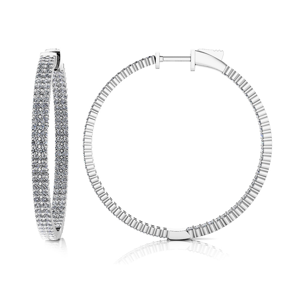 Image of Double Row Inside Out Diamond Hoop Earrings Large