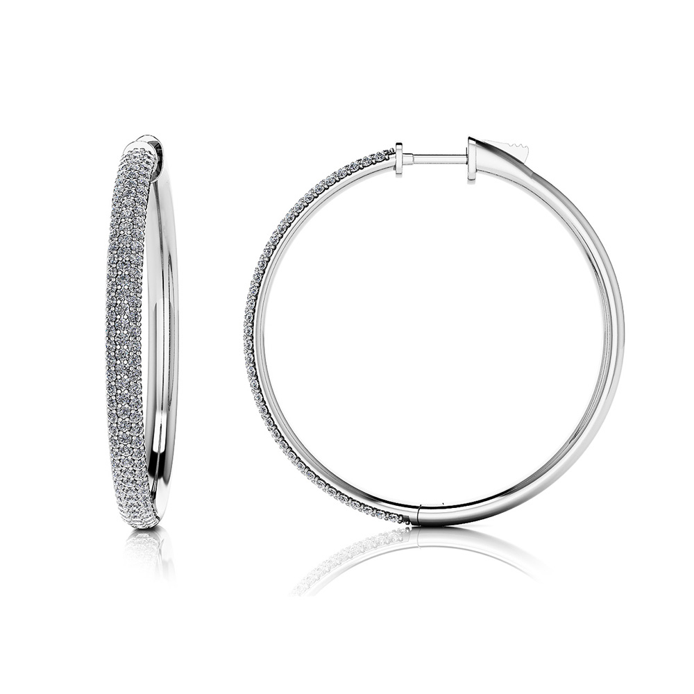 Image of Large Triple Row Diamond Hoop Earrings