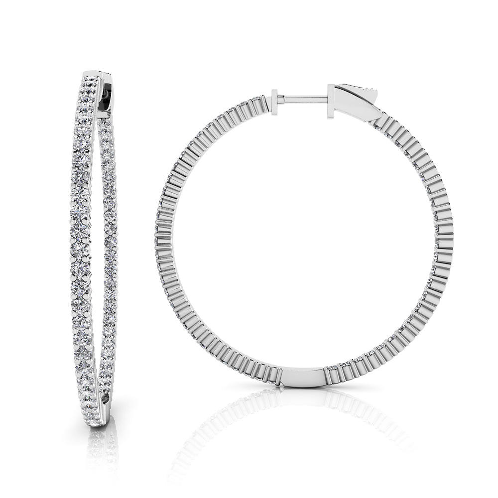 Image of Single Row Inside Out Diamond Hoop Earring Large