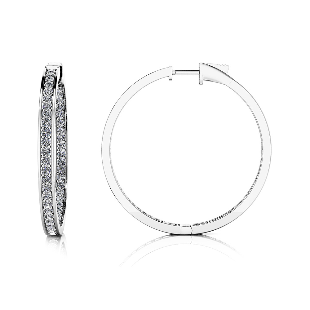 Image of Large Shared Prong Single Row Diamond Hoops