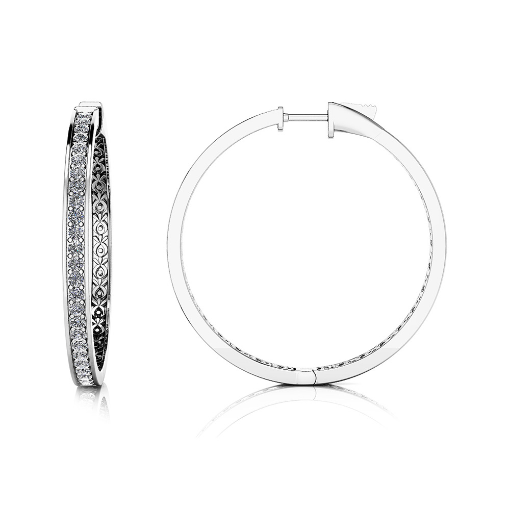 Image of Large Prong Set Diamond Lined Hoops