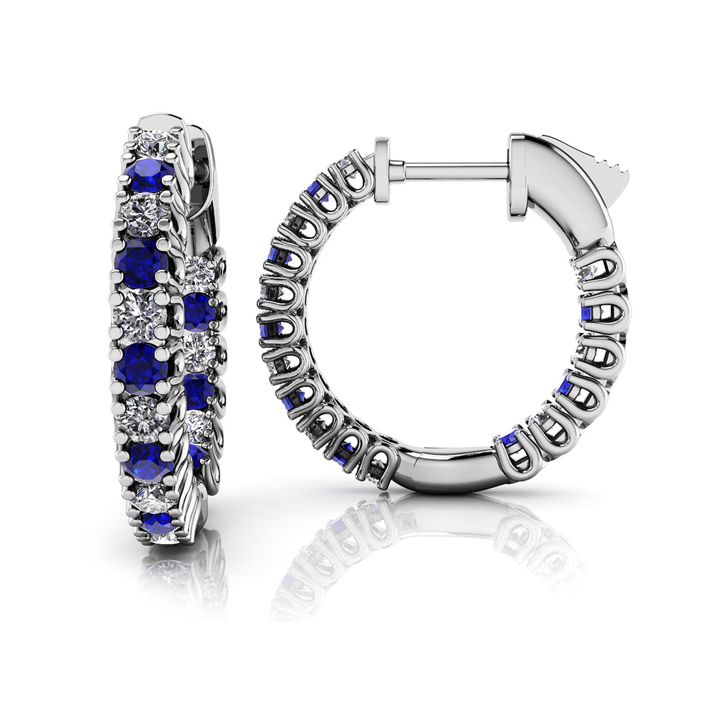 Image of Extra Small Curved Gemstone Diamond Hoops