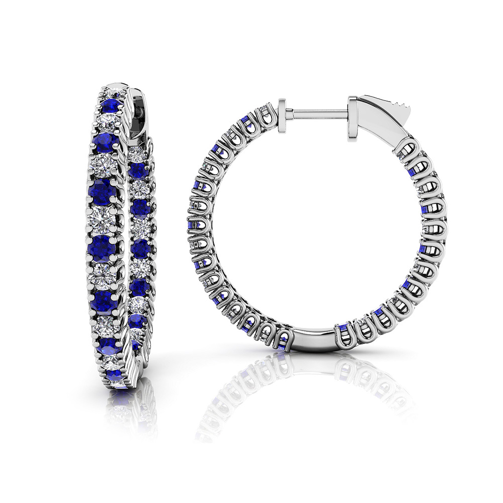 Image of Small Curved Inside Out Gemstone Diamond Hoop
