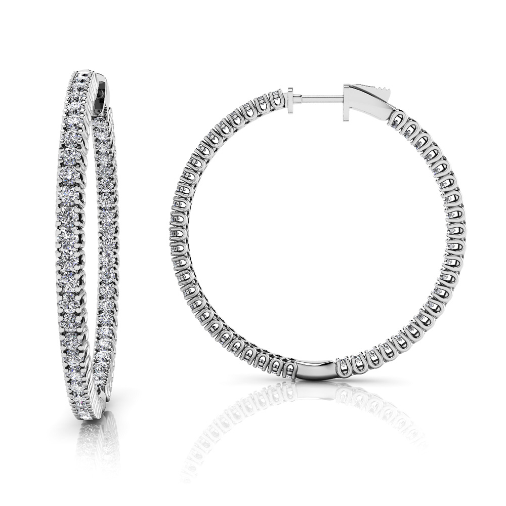 Image of Elegant Curved Prong Diamond Hoop Earrings Large