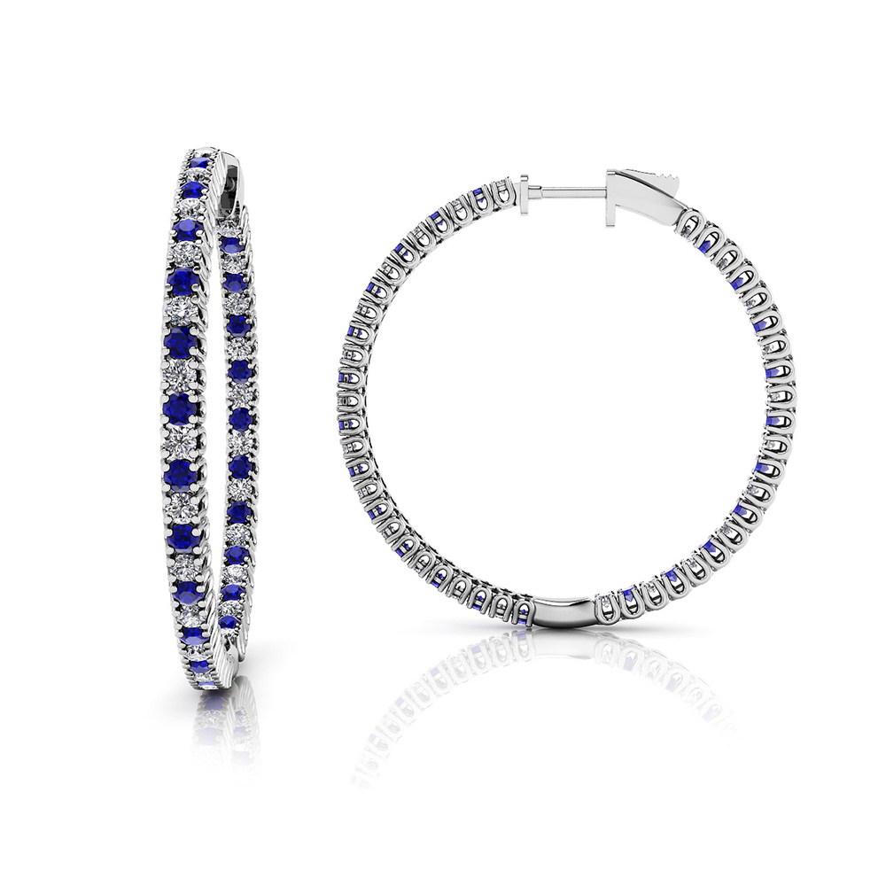 Image of Large Curved Prong Inside Out Gemstone Hoops