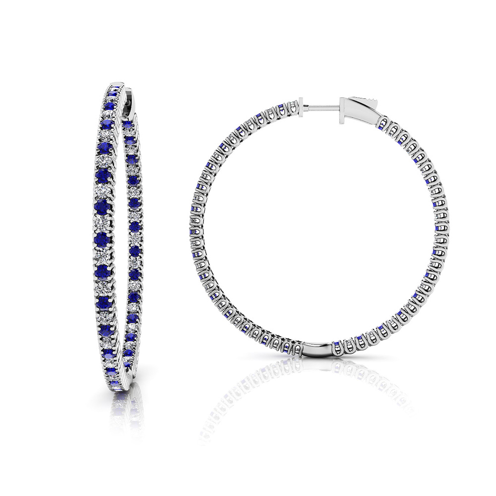 Image of Extra Large Curved Prong Inside Out Gemstone Hoops