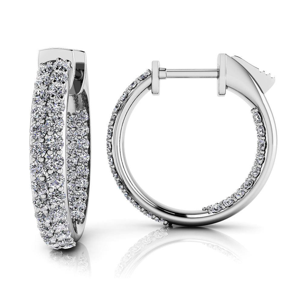 Image of Inside Out Domed Diamond Hoop Earrings Extra Small