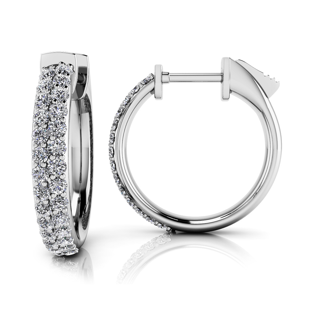 Image of Dome Shaped Diamond Pave Hoop Earrings Extra Small