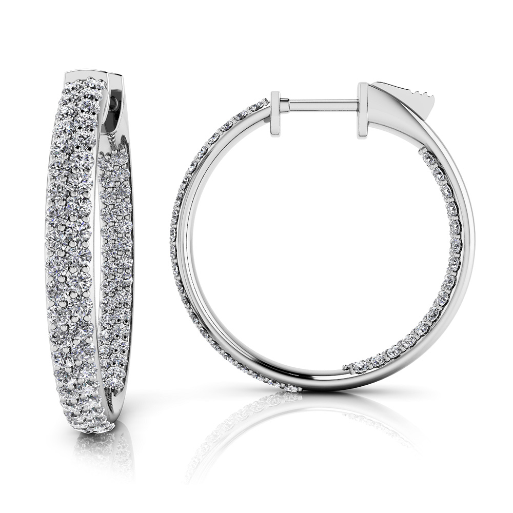 Image of Inside Out Diamond Pave Hoop Earrings Small