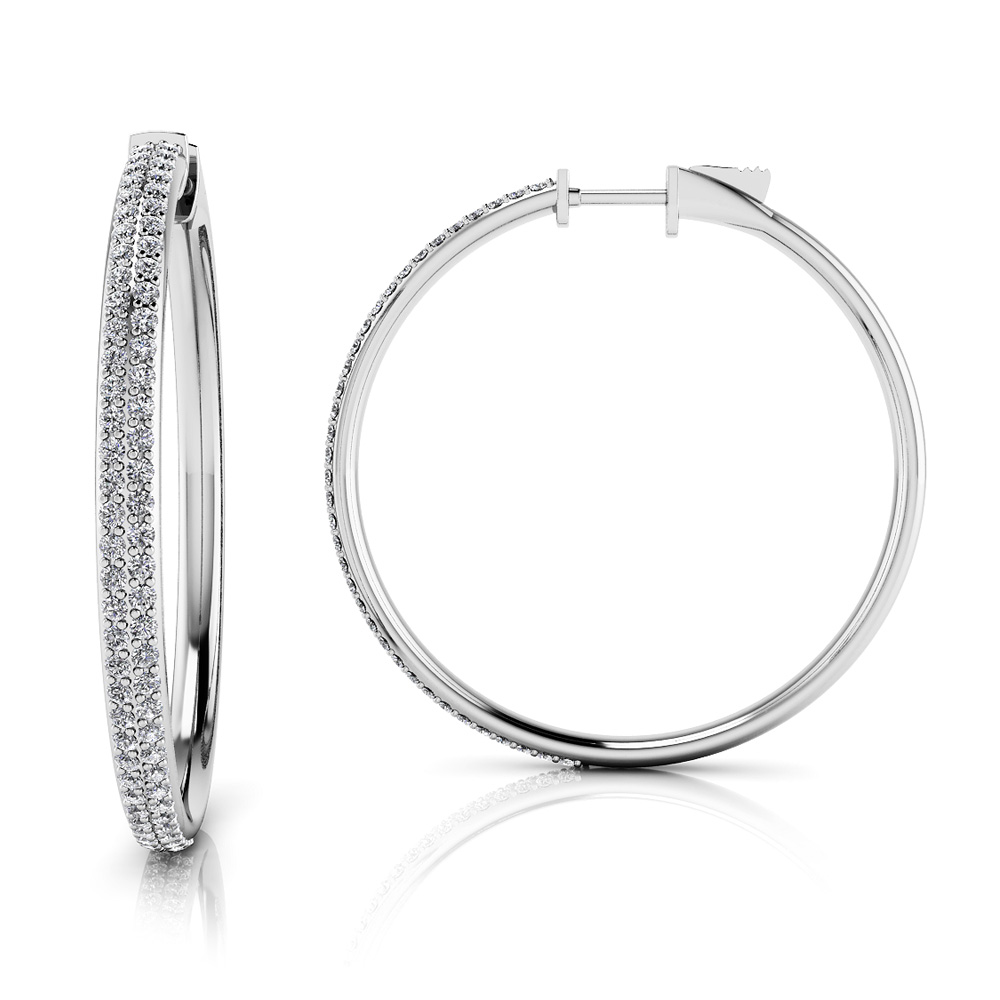 Image of Diamond Pave Hoop Earrings Large