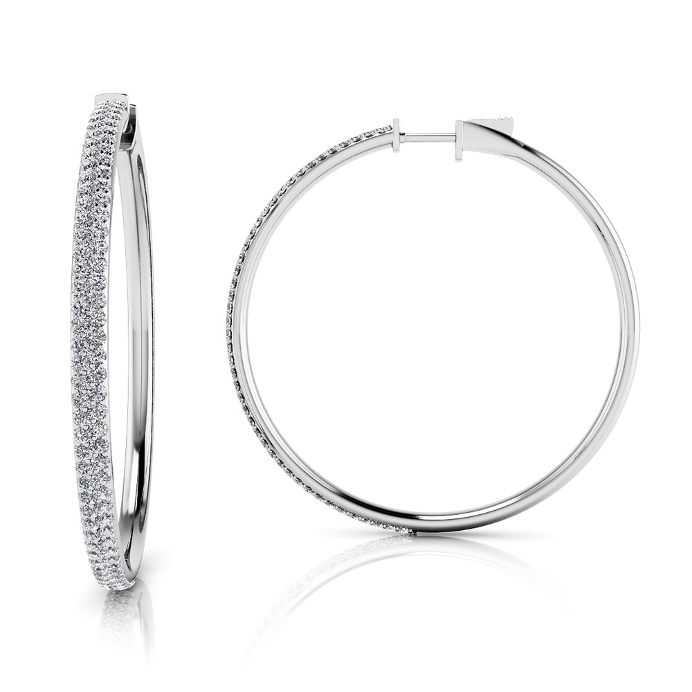 Image of Diamond Pave Hoop Earrings Extra Large