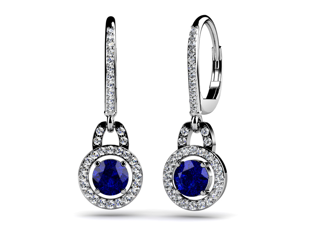 Image of Diamond and Oval Gemstone Drop Earrings