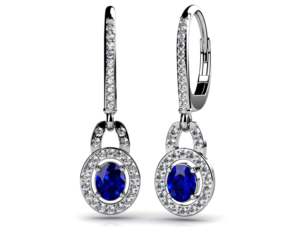 Image of Diamond and Round Gemstone Drop Earrings