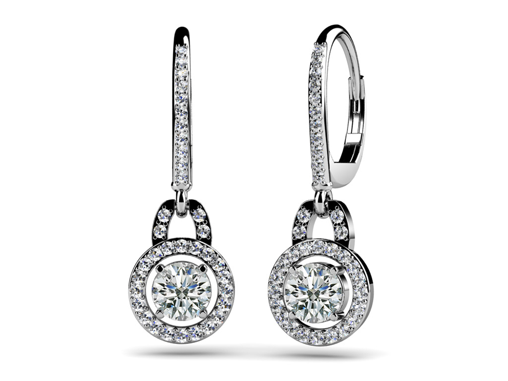 Image of Designer Style Diamond Circle Earrings