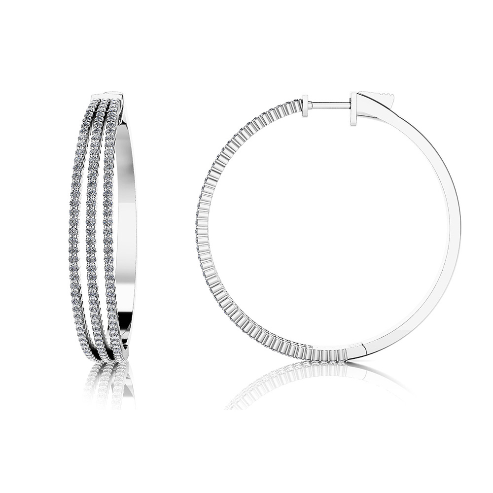 Image of Large 3 Row Diamond Hoop Earrings