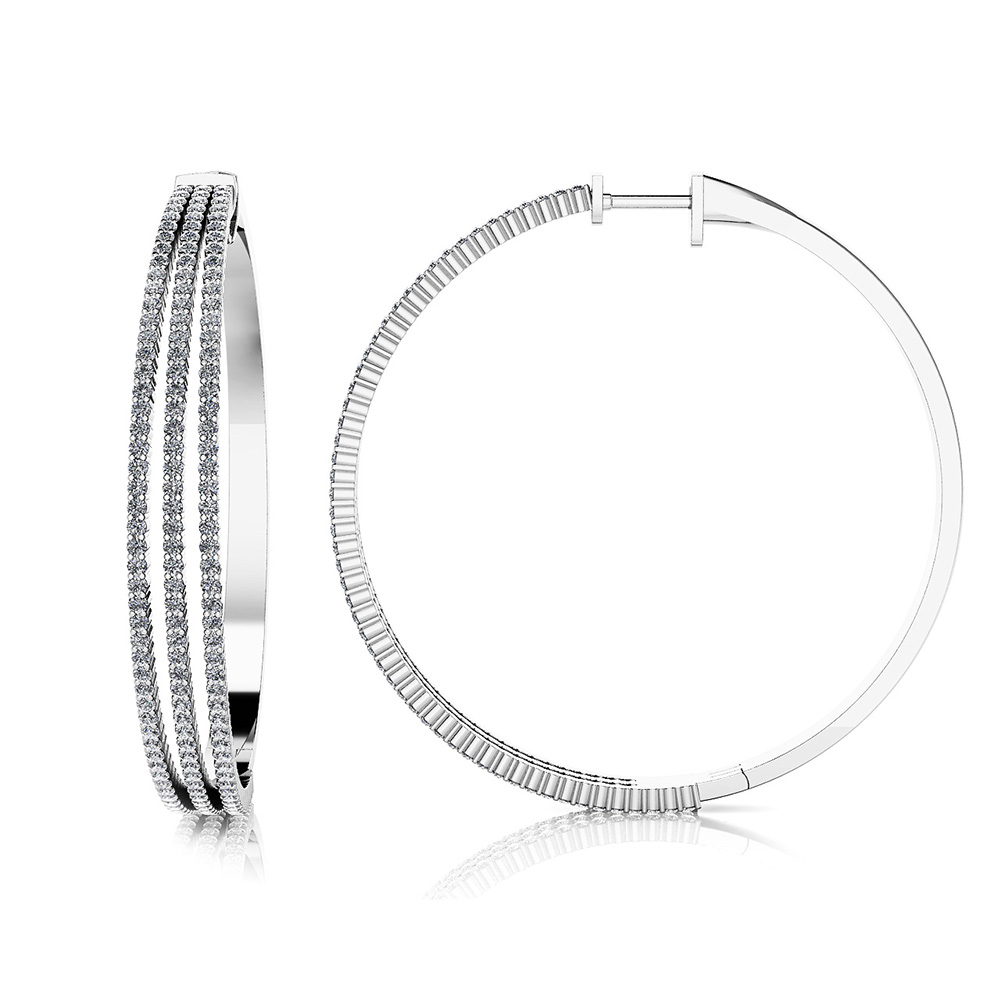 Image of Extra Large 3 Row Diamond Hoop Earrings