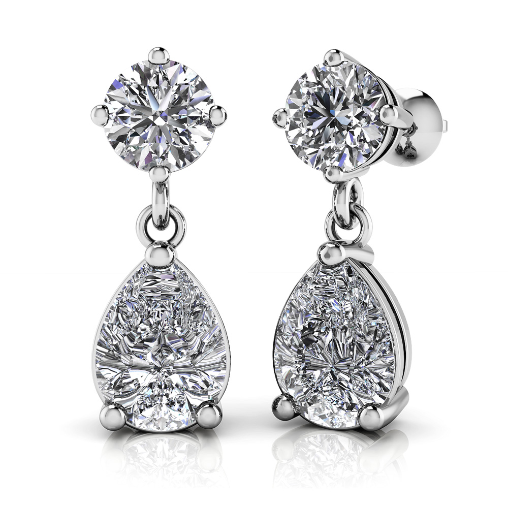 Image of Alluring Round and Pear Shaped Drop Earrings